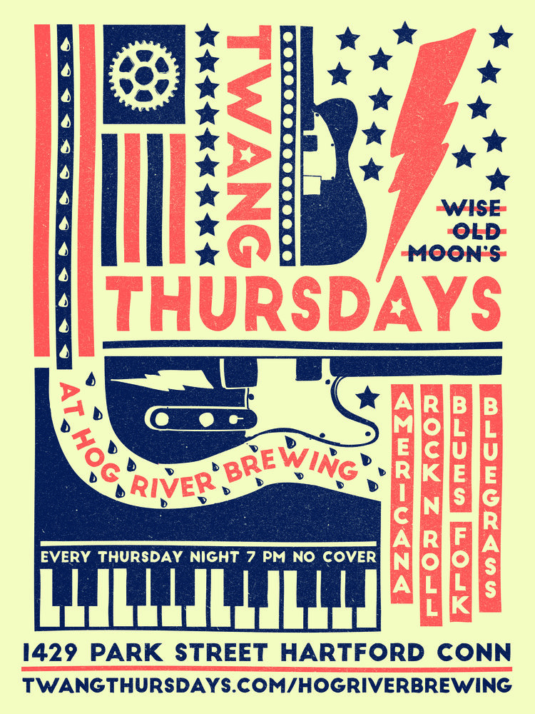 Twang Thursdays - Ongoing music series, Hog River Brewing, HartfordInspired by old-school country posters, I used icons and bold text to construct a feeling that can equate to electrifying twang.
