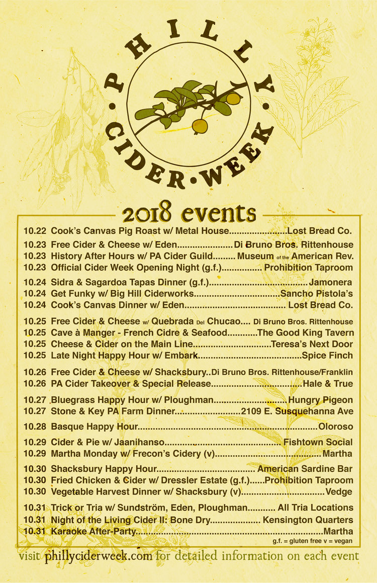 Poster - We needed to spread the word offline, so we created a simple 11x17 poster that the Cider Week crew was able to post up around Philly.