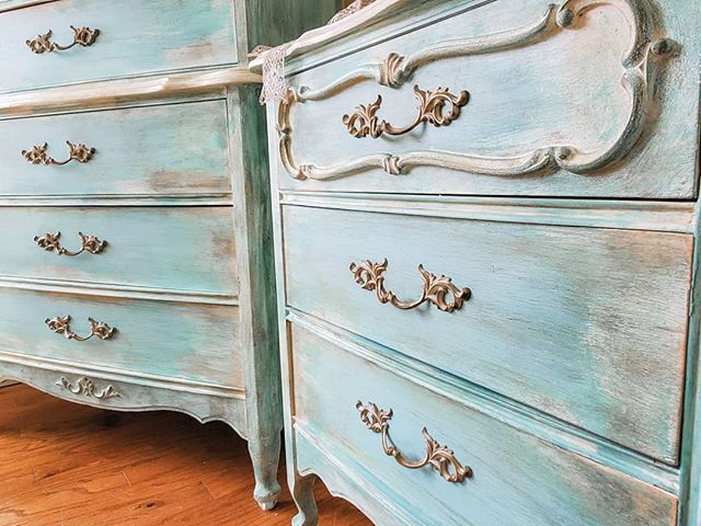 """French Provincial Dresser Set with Mirror  French provincial dresser set. Two stunning french dressers with matching mirror. Scalloped edges ornate details, queen anne legs, and original french hardware. Set has been restored, refinished, and painted in our custom antiqued patina """"Dirty French"""" with an antique glaze for that old world feel we all love.  FREE SHIPPING - Anywhere in the US  Local Buyers - Contact us directly for local pricing! Delivery options available! In the Portland. Salem, Albany, and Eugene areas. Pick up is available from our shop as well."""
