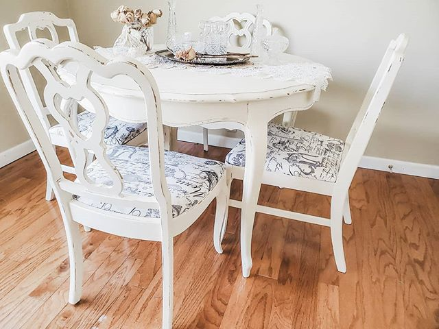 French Dining Set - Whimsical White  Stunning french provincial dining set. Antique solid wood dining table with scalloped edges, and queen anne legs. Fully restored and refinished. Has been painted in antique white, and distressed edges and details. Paired with a set of 4 antique wood chairs that have been restored and refinished in antique white, with new french script upholstery. Whimsical and timeless set for your french provincial, farmhouse, or shabby chic home.  Our furniture pieces are clear coat sealed and protected for day to day use. We pride ourselves on creating antique heirloom pieces that will last for years to come!  Local Delivery to: Portland, Salem, Albany, Eugene, Oregon Coast, and surrounding areas.  FREE shipping anywhere in the US!