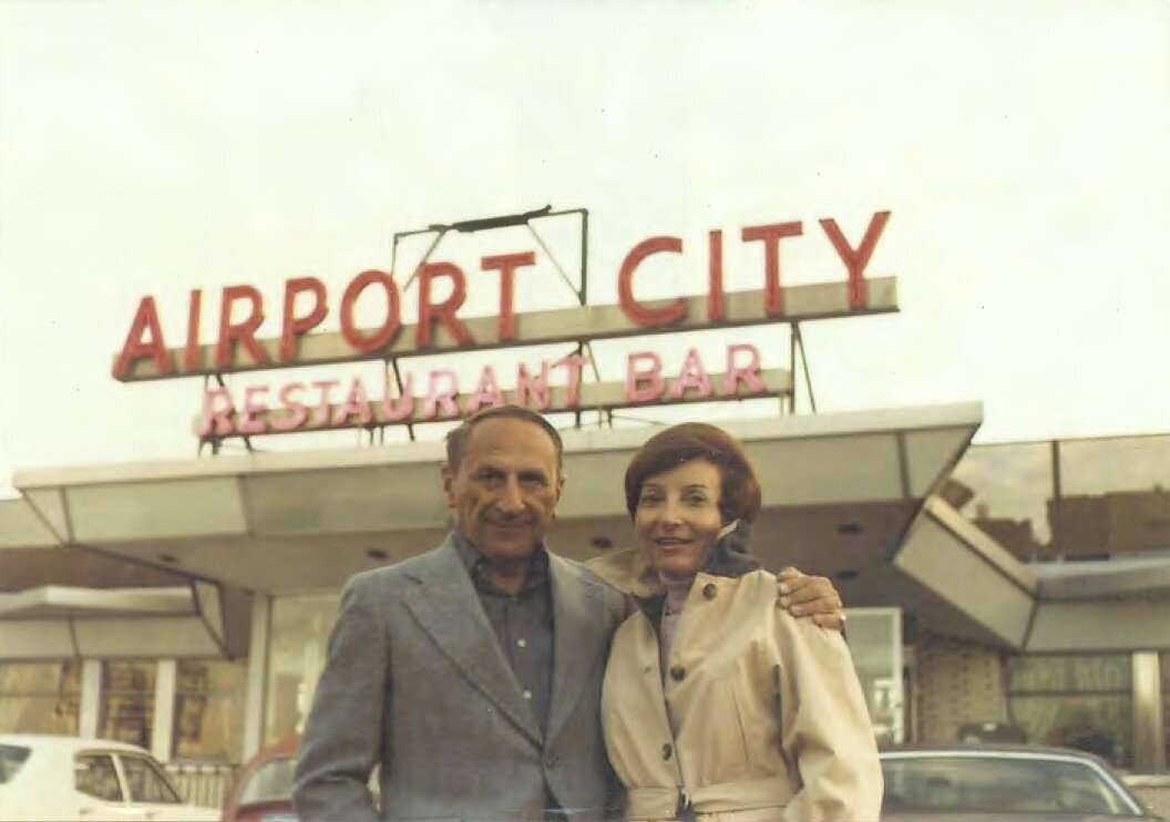 My favorite photo of my parents. Kurt and an impossibly young looking 'Toots,' in front of Airport City, the diner near JFK, where the four Sanders used to stop for dinner en route home from weekend pool outings at the Officers' Club at Fort Hamilton, in Brooklyn, circa 1971. After dinner, while we waited for our parents, I would throw high pops to my brother in the parking lot as jets whizzed by.