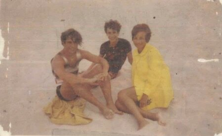 Dorrit, Lee and I at Jones Beach, 1972, 'after everyone else had gone, except the sea gulls'.