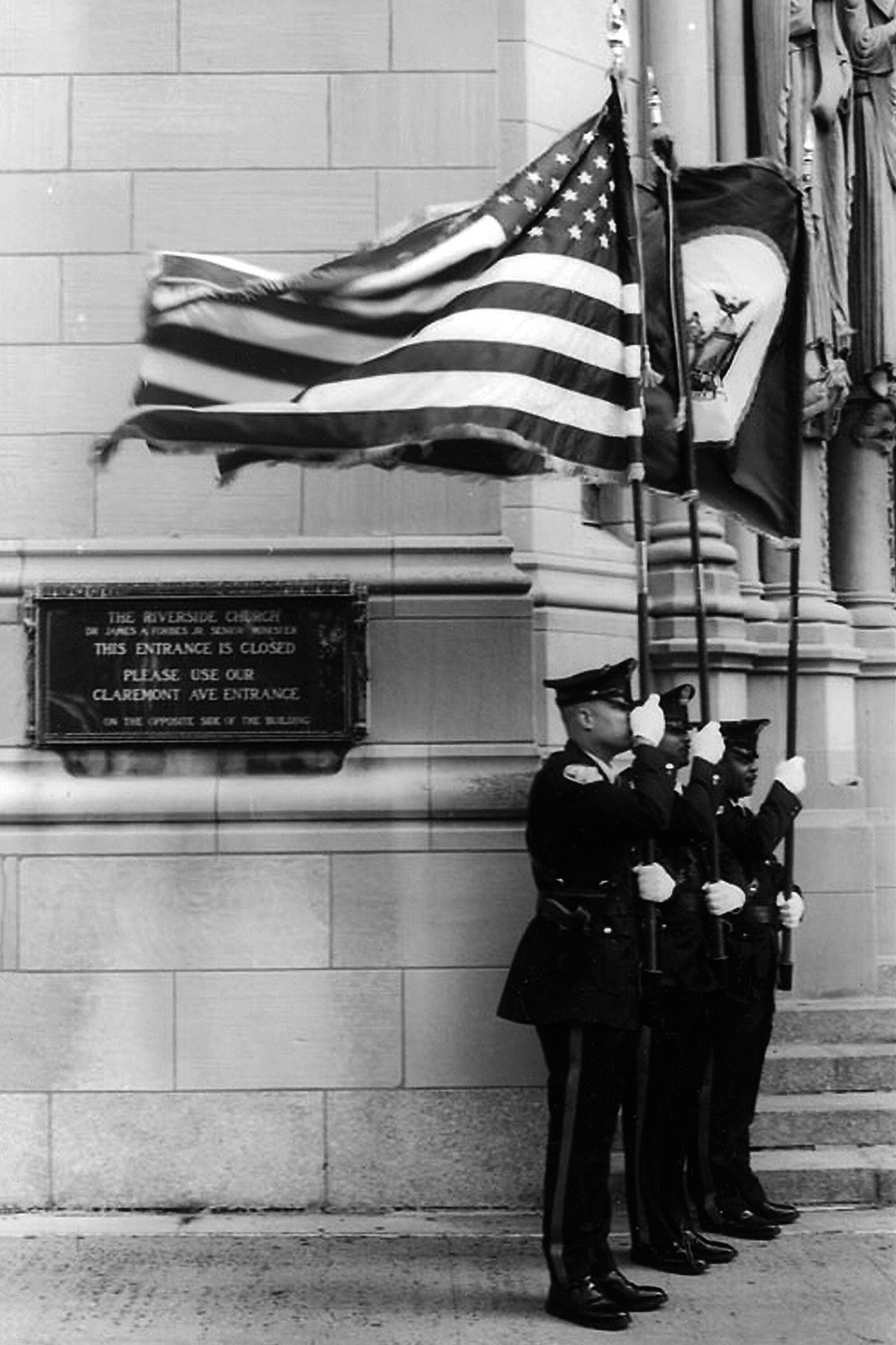 Memorial for Port Authority policemen who died on September 11, 2001, Riverside Church (2002)  —  [..] And then one day in 2001 it wasn't there. The city was in shock for several years - you can see it in the faces of the Port Authority officers, some of the 403 emergency workers who perished when the Towers came down. A lot of people thought that New York would never recover. But of course it did. Because New York is New York.