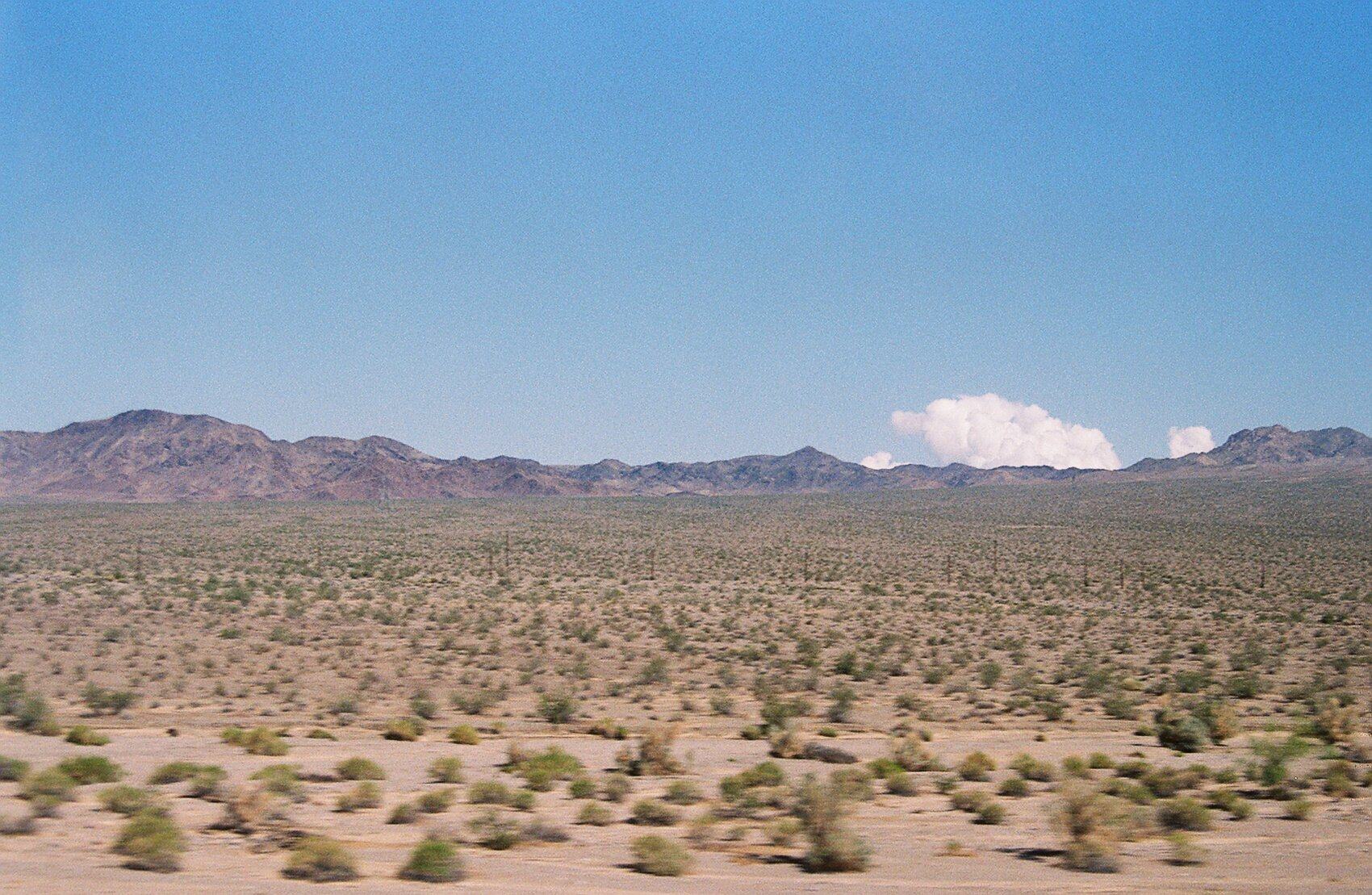 Desert view, Greyhound bus en route to San Diego from Las Vegas (2019)