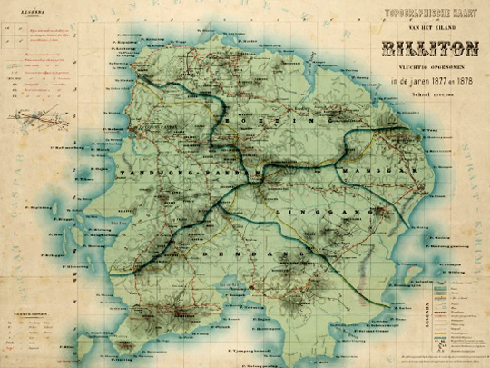Topographic Map of Billiton, 1882. Source:Leiden University Digital Library KITLV.