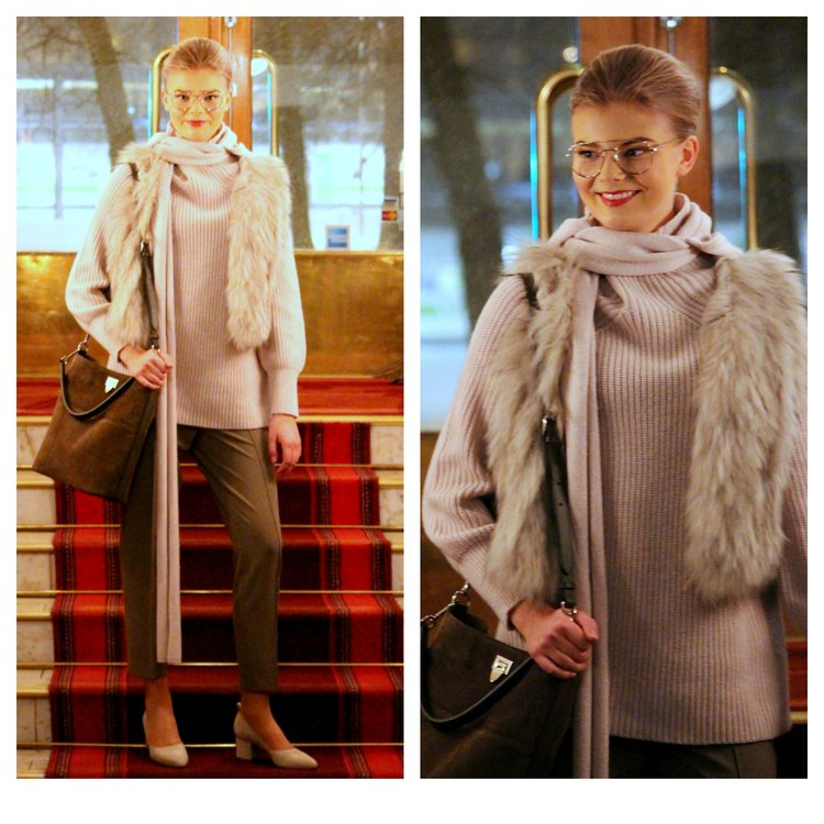 Filippa K knits & trousers, Natures Collection fur vest, Decadent bag, ATP Atelier shoes