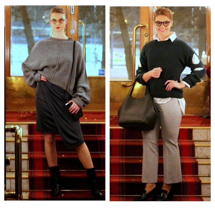 House of Dagmar knits & dress, Filippa K bags & trousers, Sleek Atelier shirt, ATP Atelier shoes