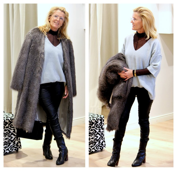 By Malene Birger fake fur coat -50%, sweater -40%, ATP shoes -40%  Decadent bag, Paul Smith glasses