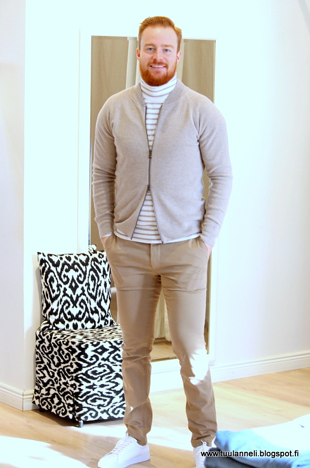 Oscar Jacobson cardigan & sweater, Tiger of Sweden chinos & sneakers