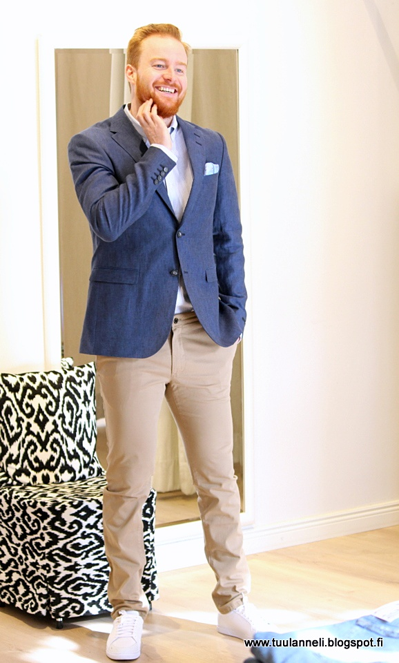 Tiger of Sweden blazer, handkerchief, shirt, chinos & sneakers
