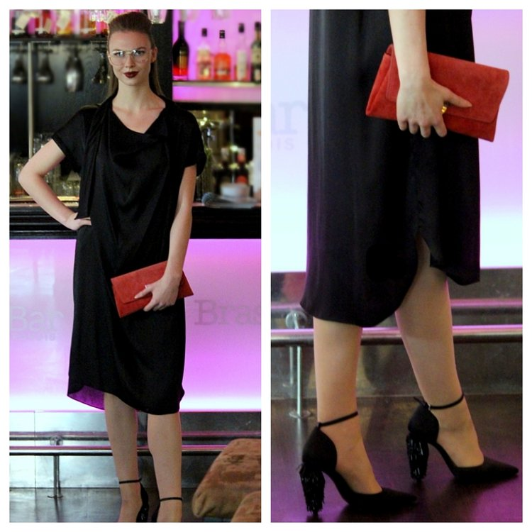 By Malene Birger Dress, Deckadent Clutch & Tiger of Sweden Shoes