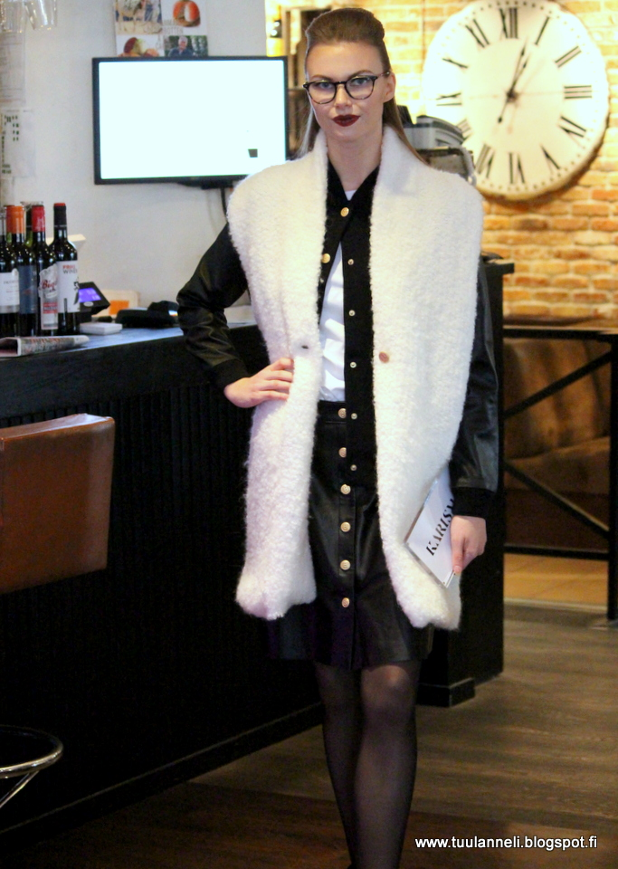 Busnel Bomber w/leather arms & Leather Skirt & Fake Fur Vest