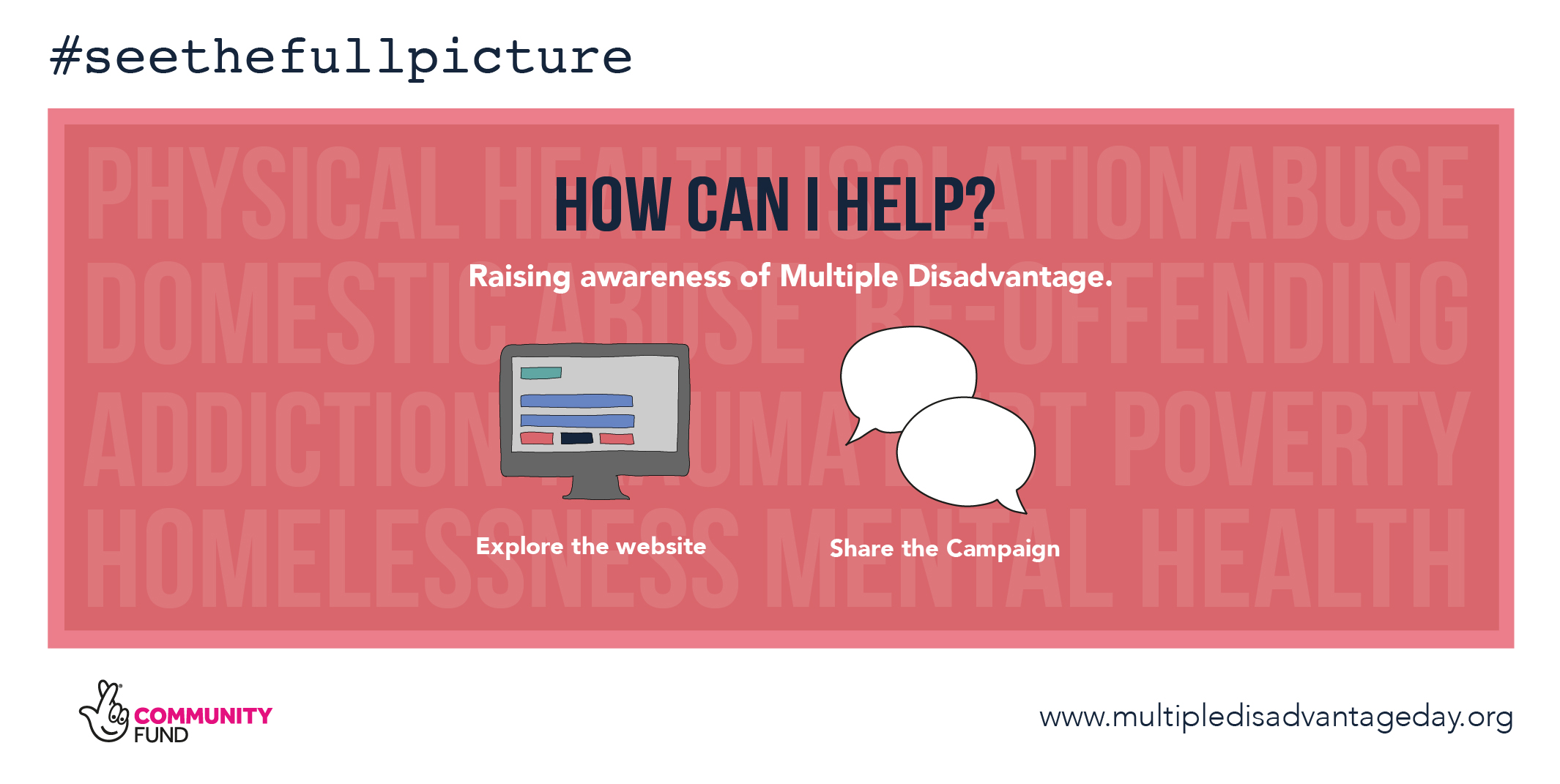 Multiple Disadvantage Day - #seethefullpicture - Campaign Graphics - How can I help? Raising Awareness