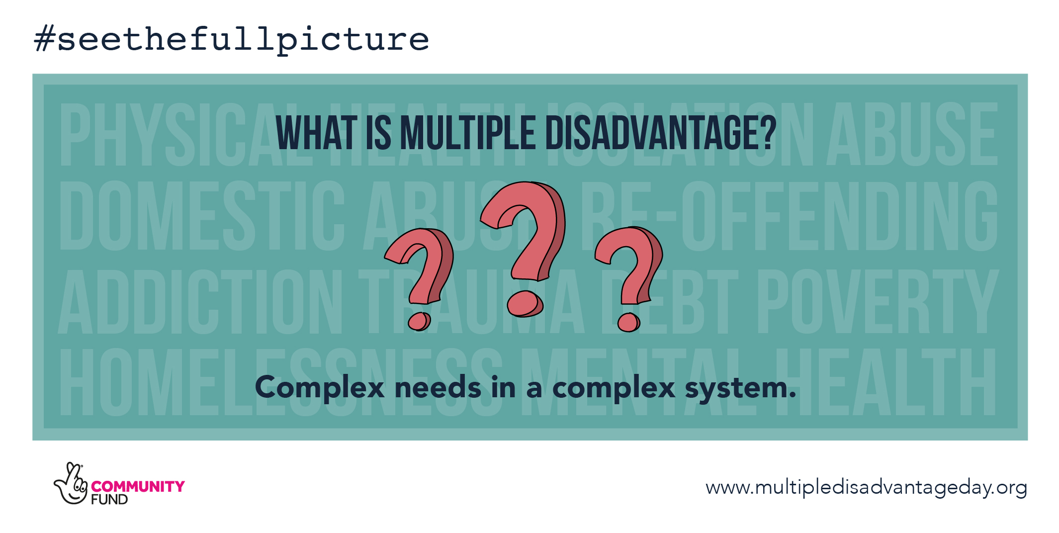 Multiple Disadvantage Day - #seethefullpicture - Campaign Graphics - What is Multiple Disadvantage? Complex needs an a complex system.