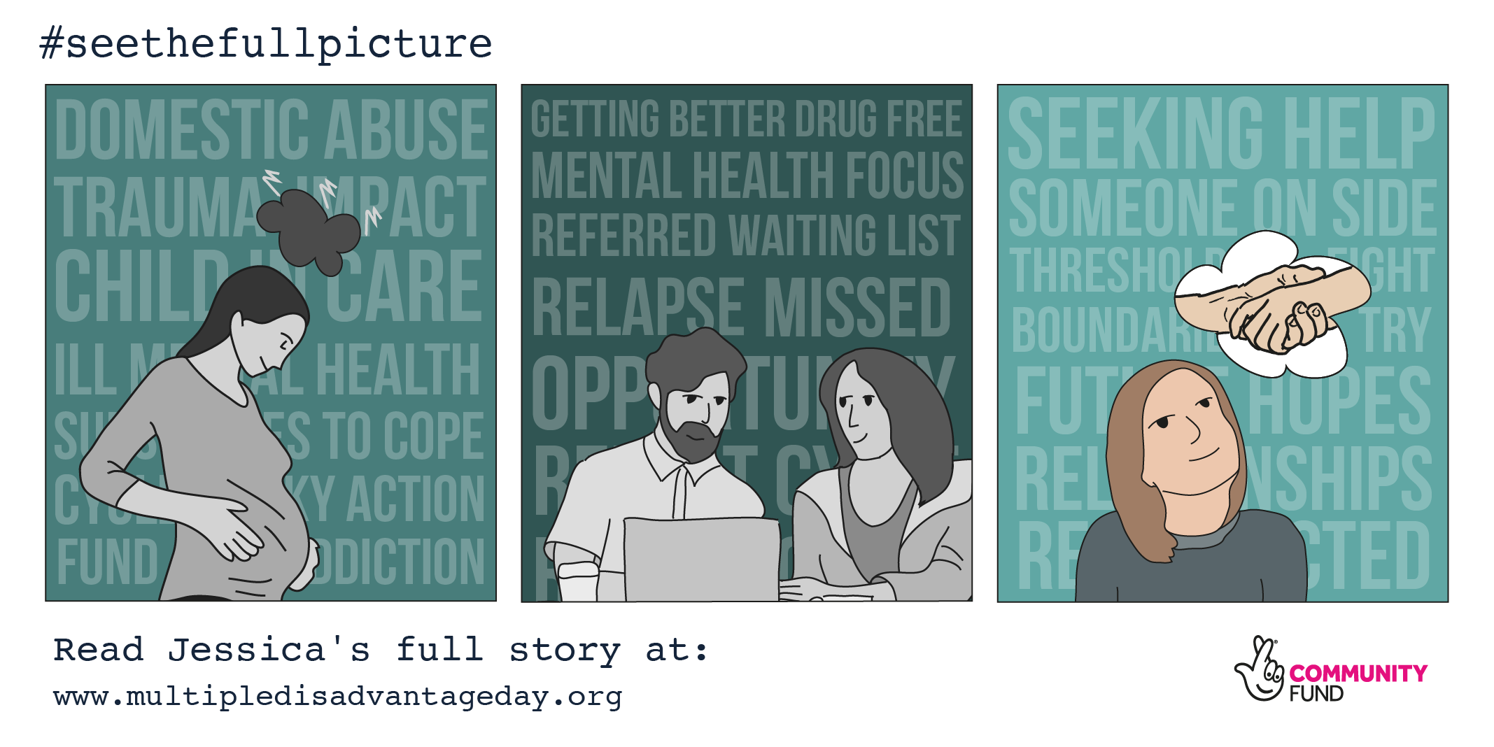 Multiple Disadvantage Day - #seethefullpicture - Campaign Graphics - True Stories - Jessica's Story