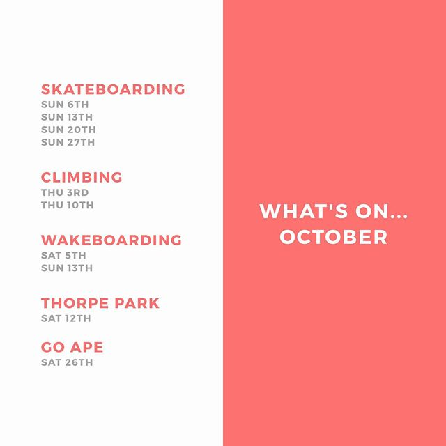 October schedule now up!! Lot's of exciting things planned 🌊🐒🛹. Only a few spots left for wakeboarding and Go Ape so book NOW! DM us for more details.
