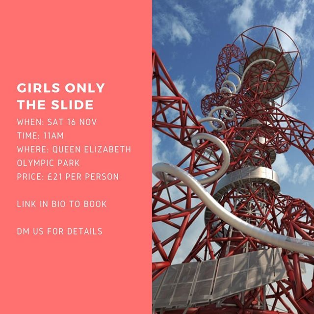 Join us on THE SLIDE on the 16th November! The ArcelorMittal Orbit is the tallest and longest tunnel slide in the world, with amazing views over Londons skyline. 🎢🙌🏼 To book.. follow link in bio.