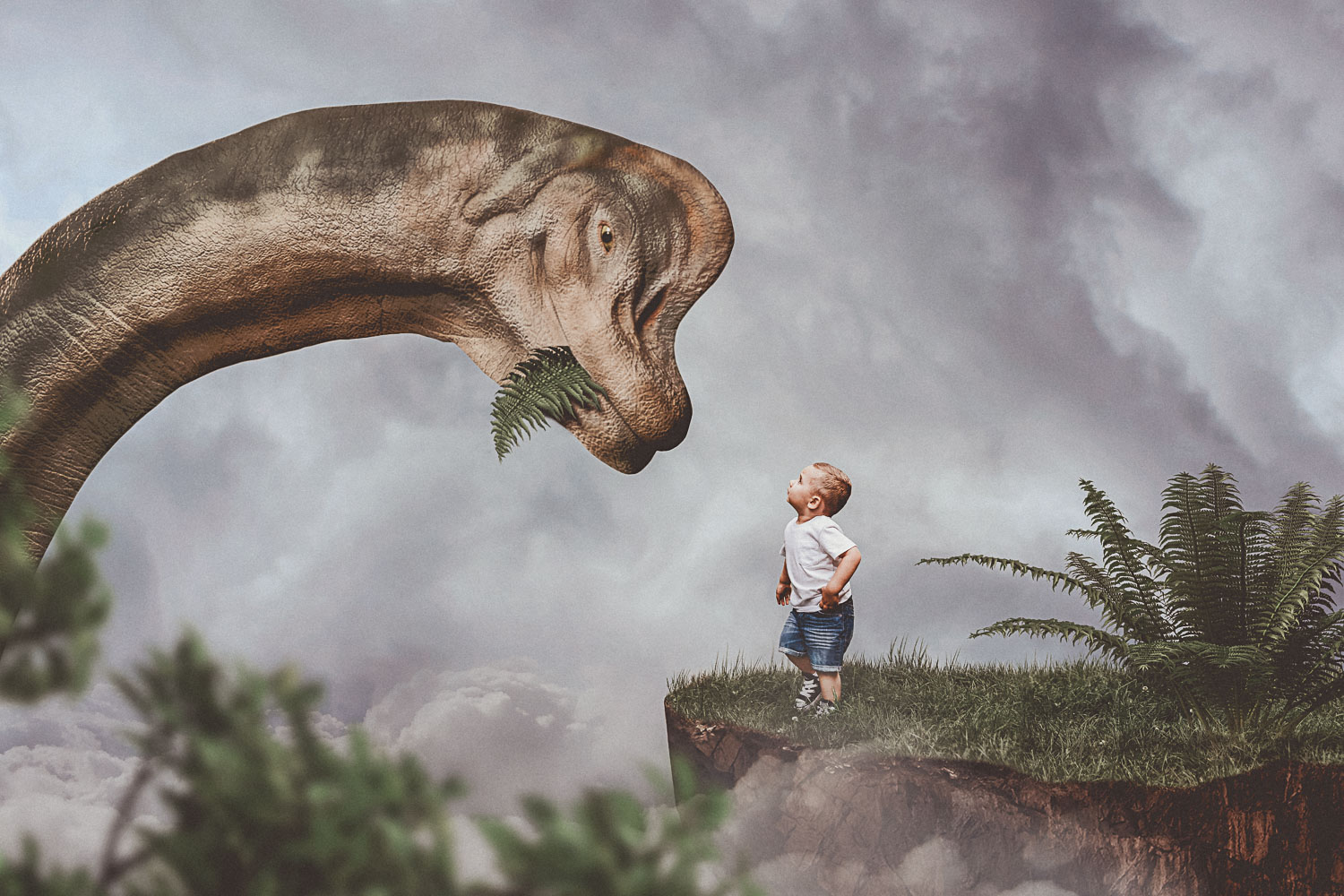 little boy on mountain greeting dinosaur brachiosaurus storybook composite