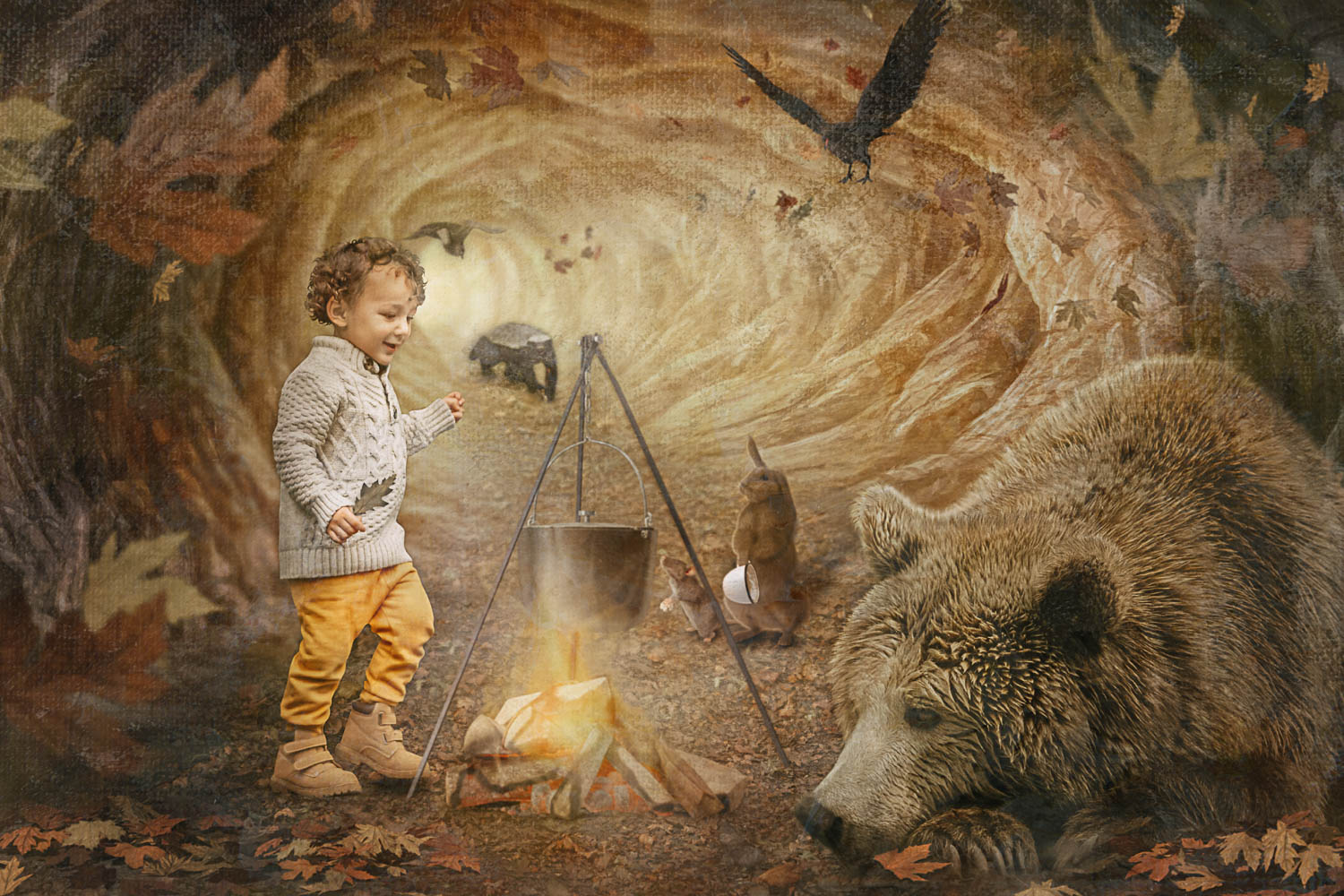little boy in a cave with a sleepy bear storybook composite