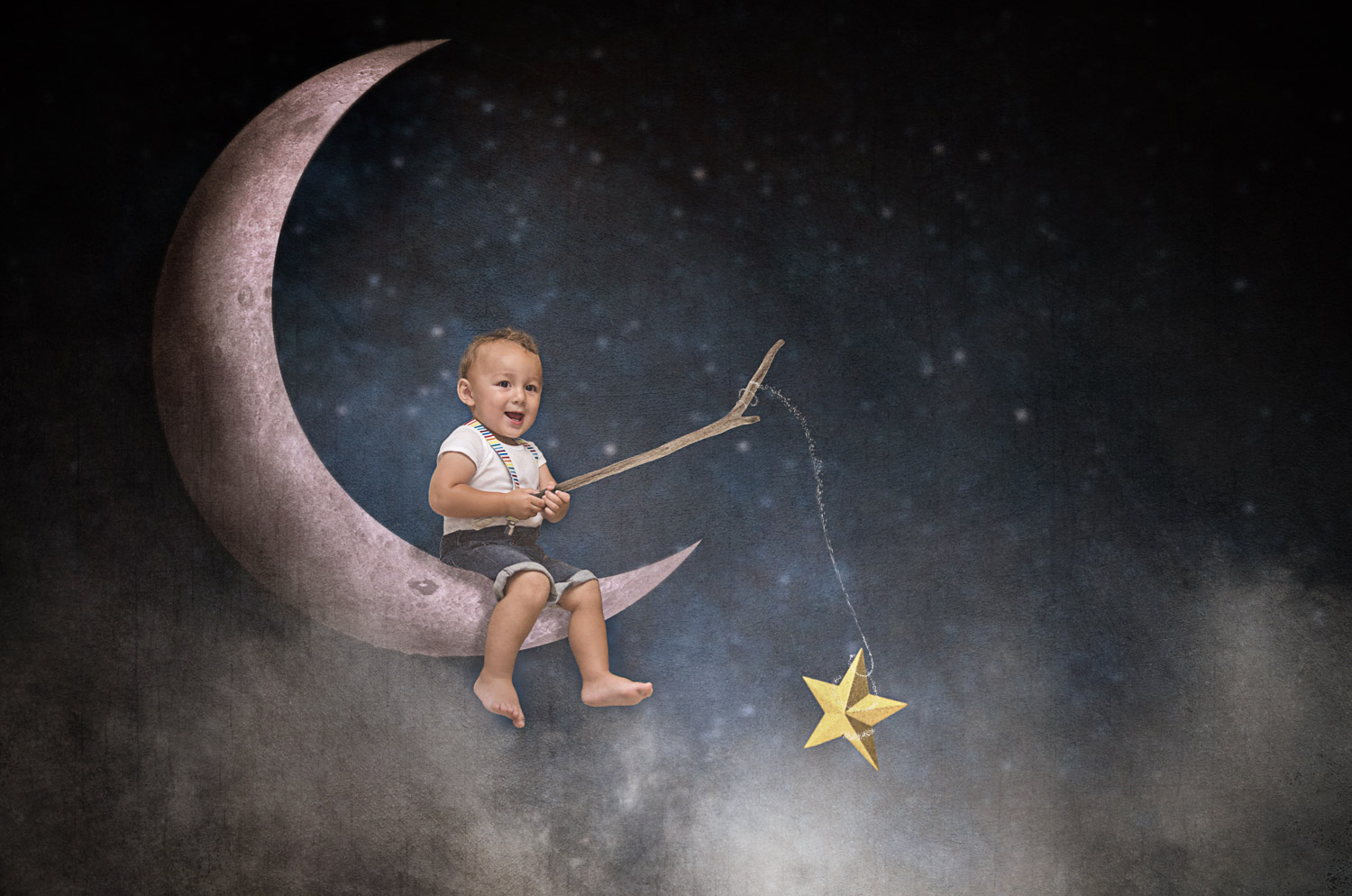little boy fishing stars on the moon storybook composite
