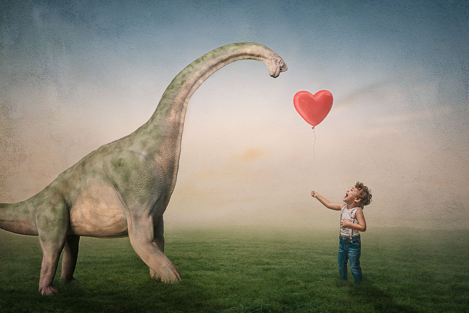 little boy gives his heart balloon to his brachiosaurus dinosaur buddy storybook composite