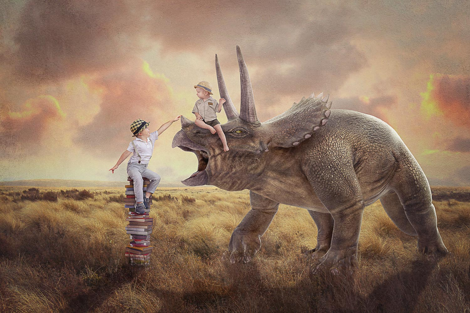 two brothers learning all about dinosaur triceratops storybook composite