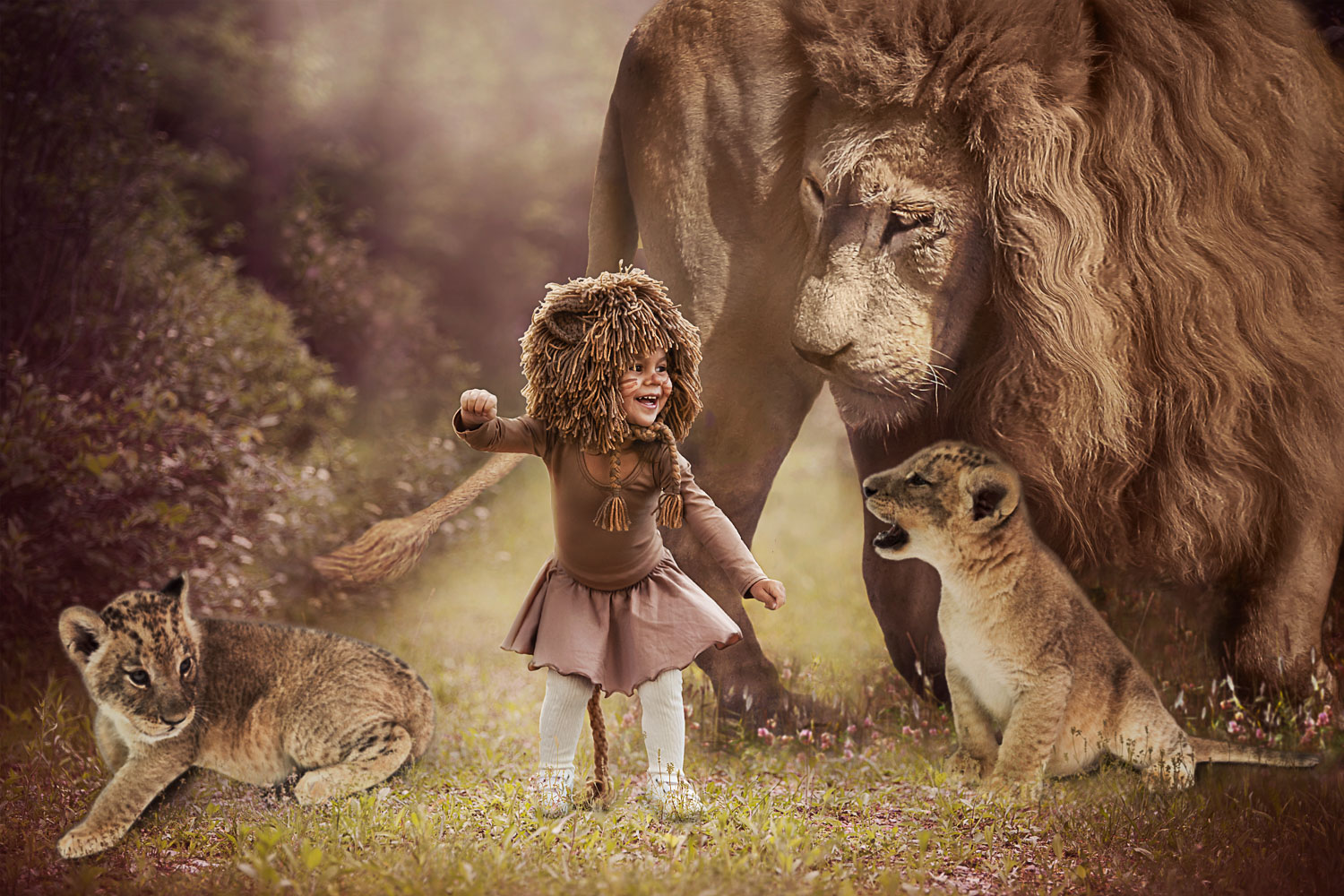 little girl dressed as a lion dancing storybook composite