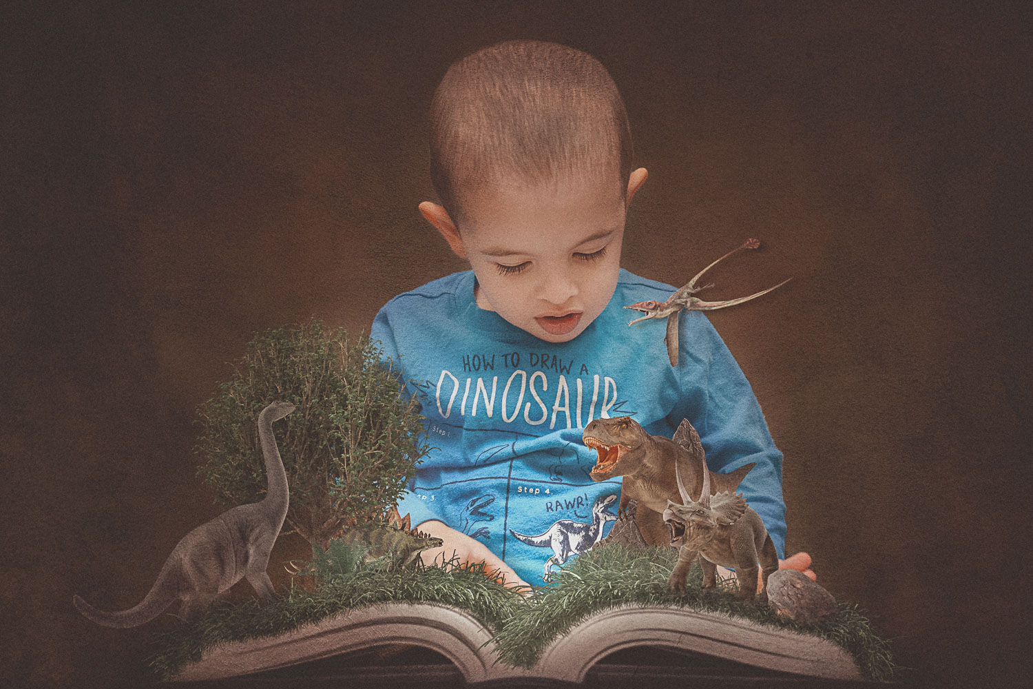 Little boy reading book that comes alive with dinosaurs storybook composite