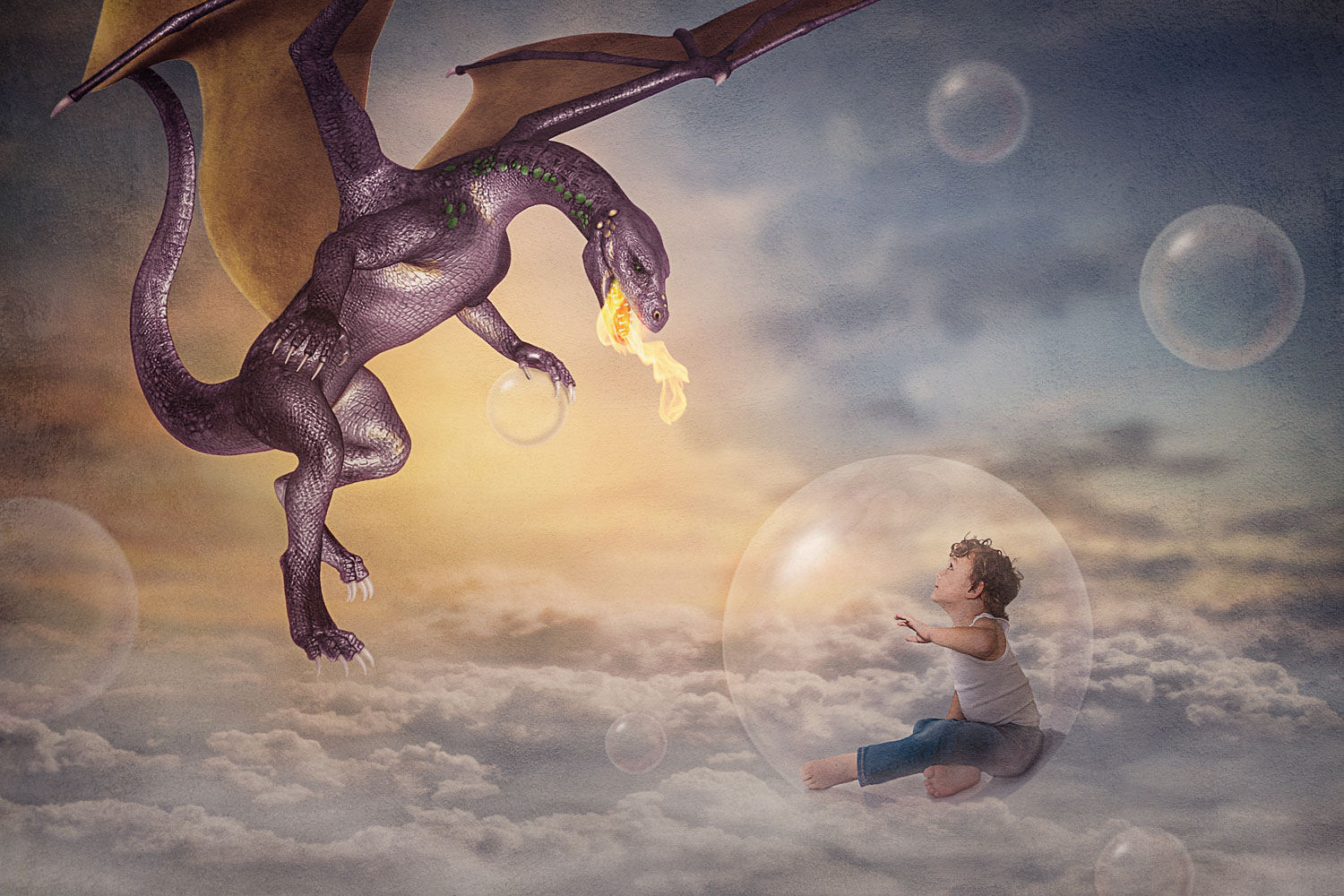 little boy above the clouds looking at a dragon storybook composite