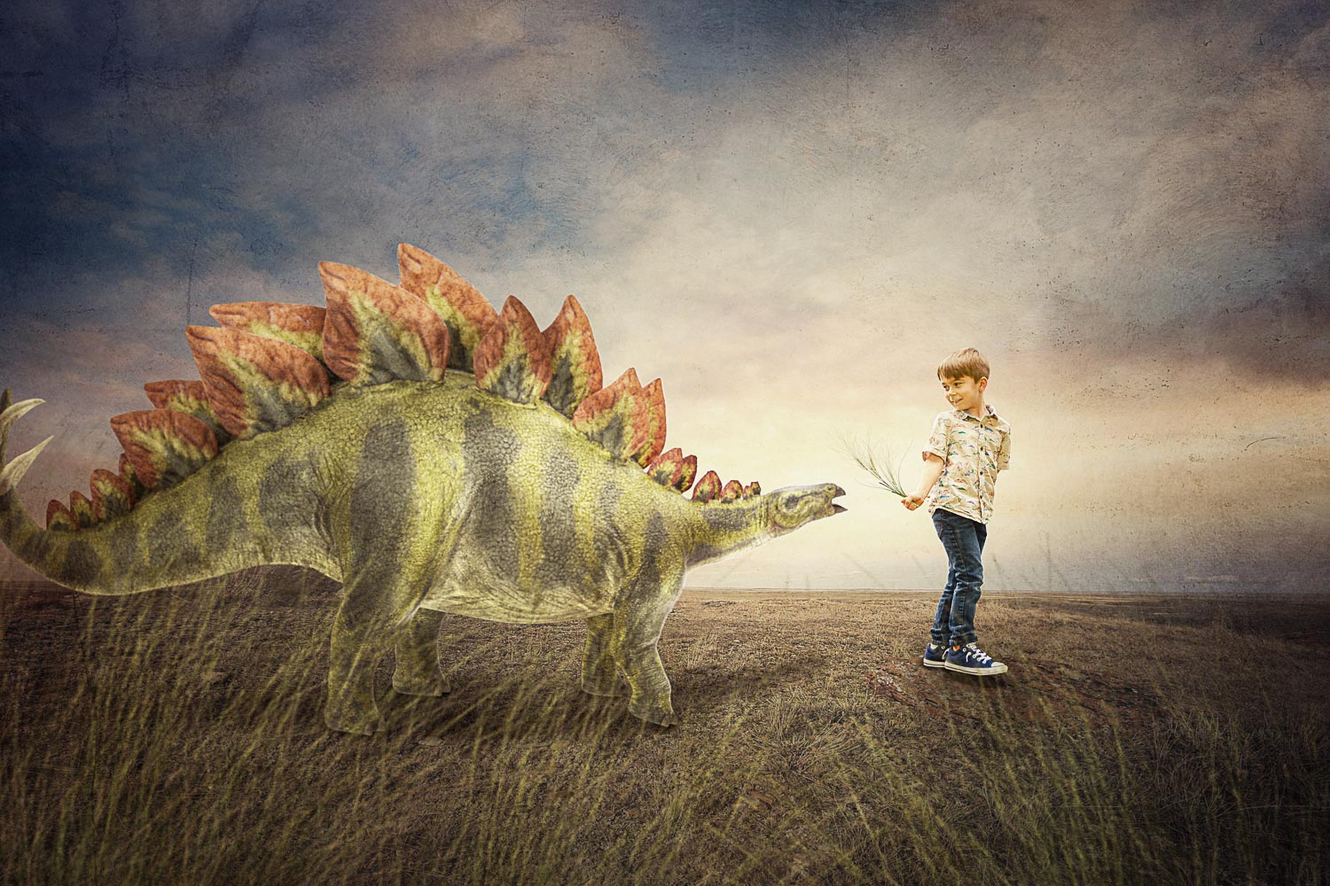 little boy feeding stegosaurus dinosaur storybook composite