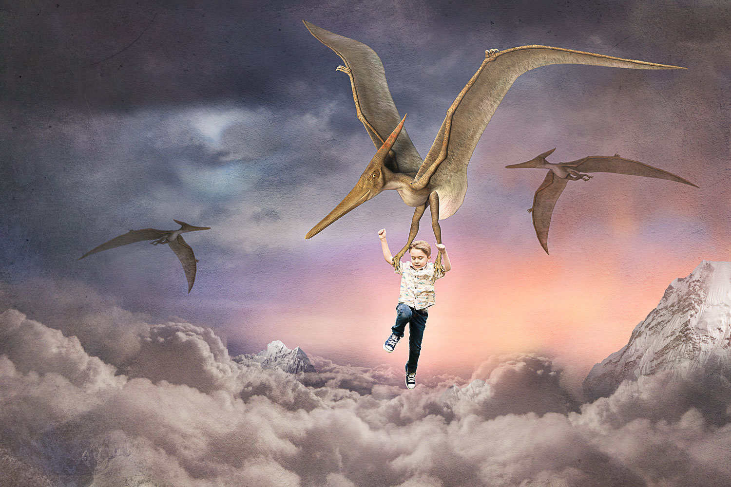 boy flying with pterodactyl dinosaurs above the clouds storybook composite