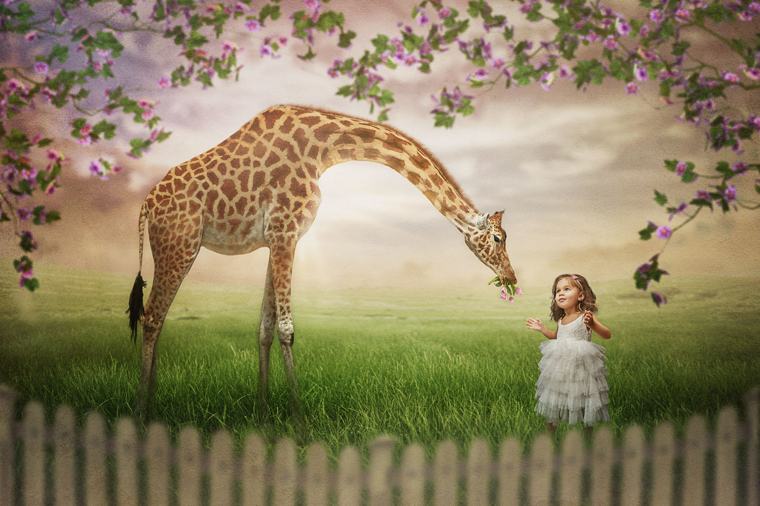 little girl with giraffe springtime storybook composite