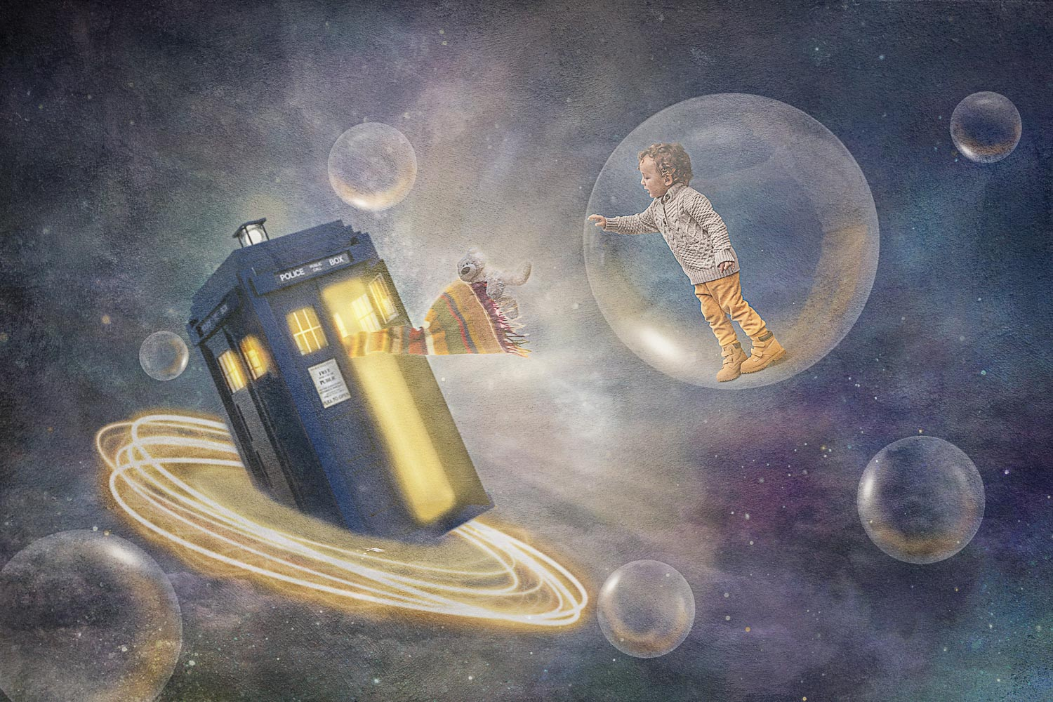 little boy chasing tardis and his teddy bear storybook compostie