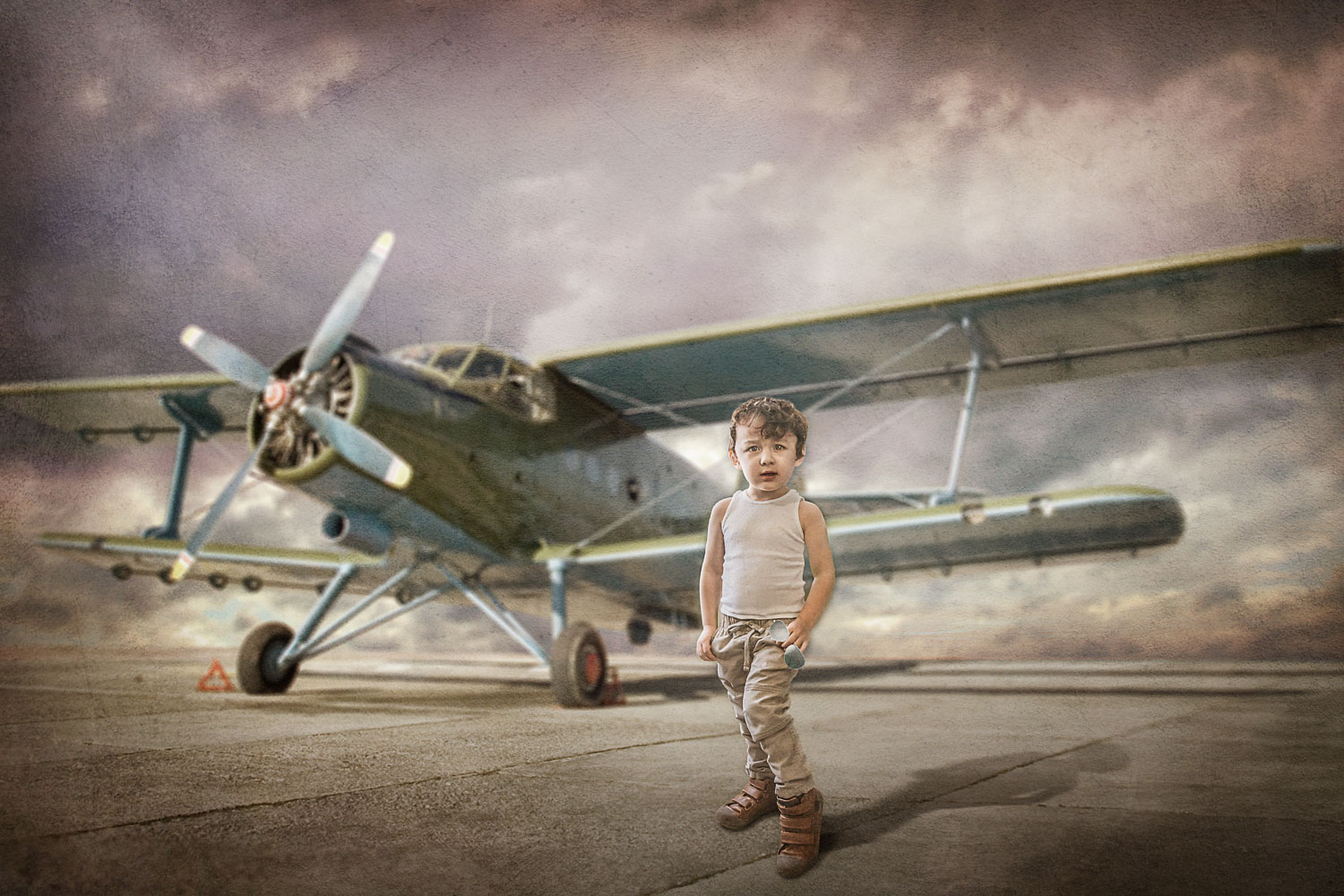 little boy with his airplaine storybook composite