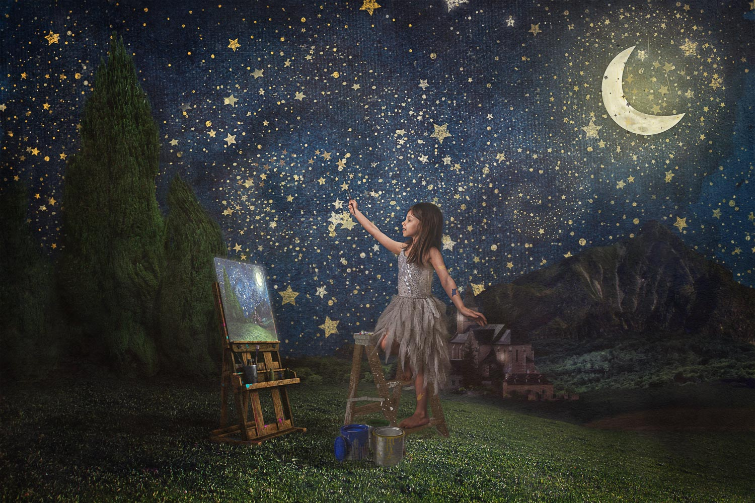little girl paining her own version of starry night by van gogh storybook composite