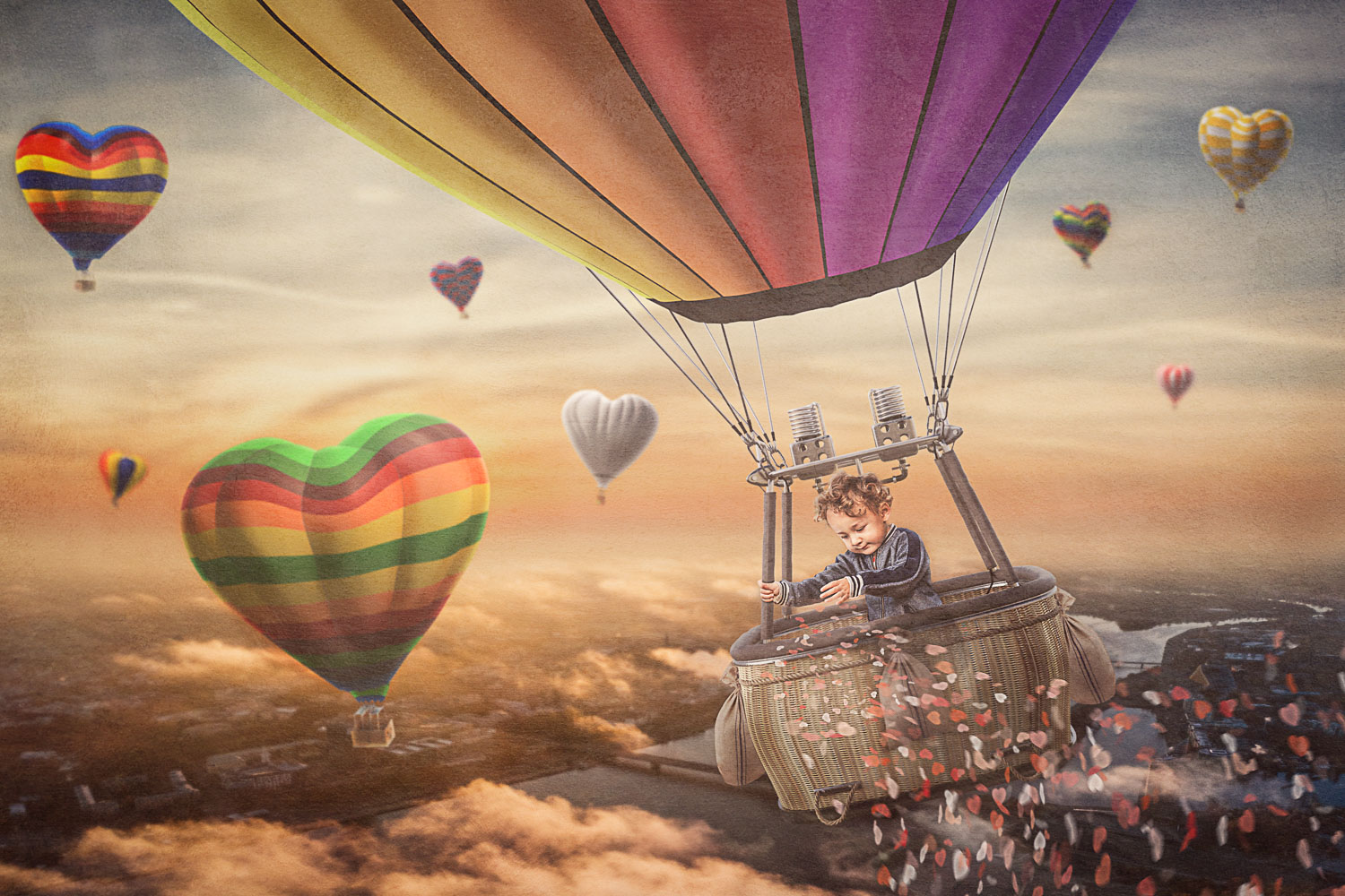 little boy spreading some love from his hot air ballon ride storybook composite