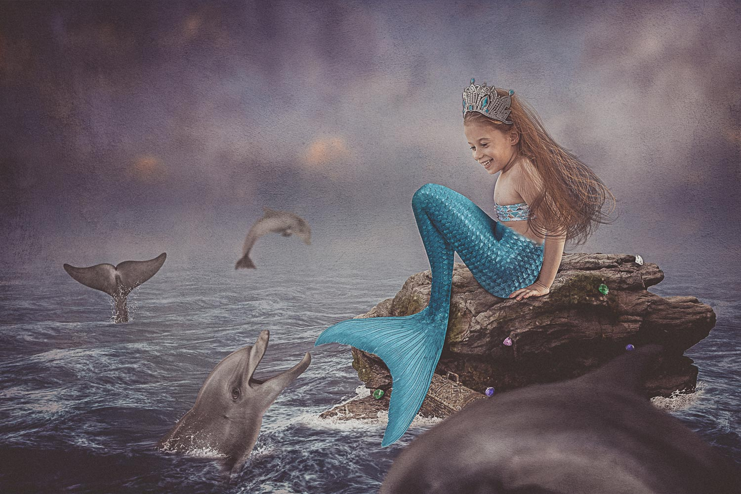 little girl mermaid and dolphins storybook composite