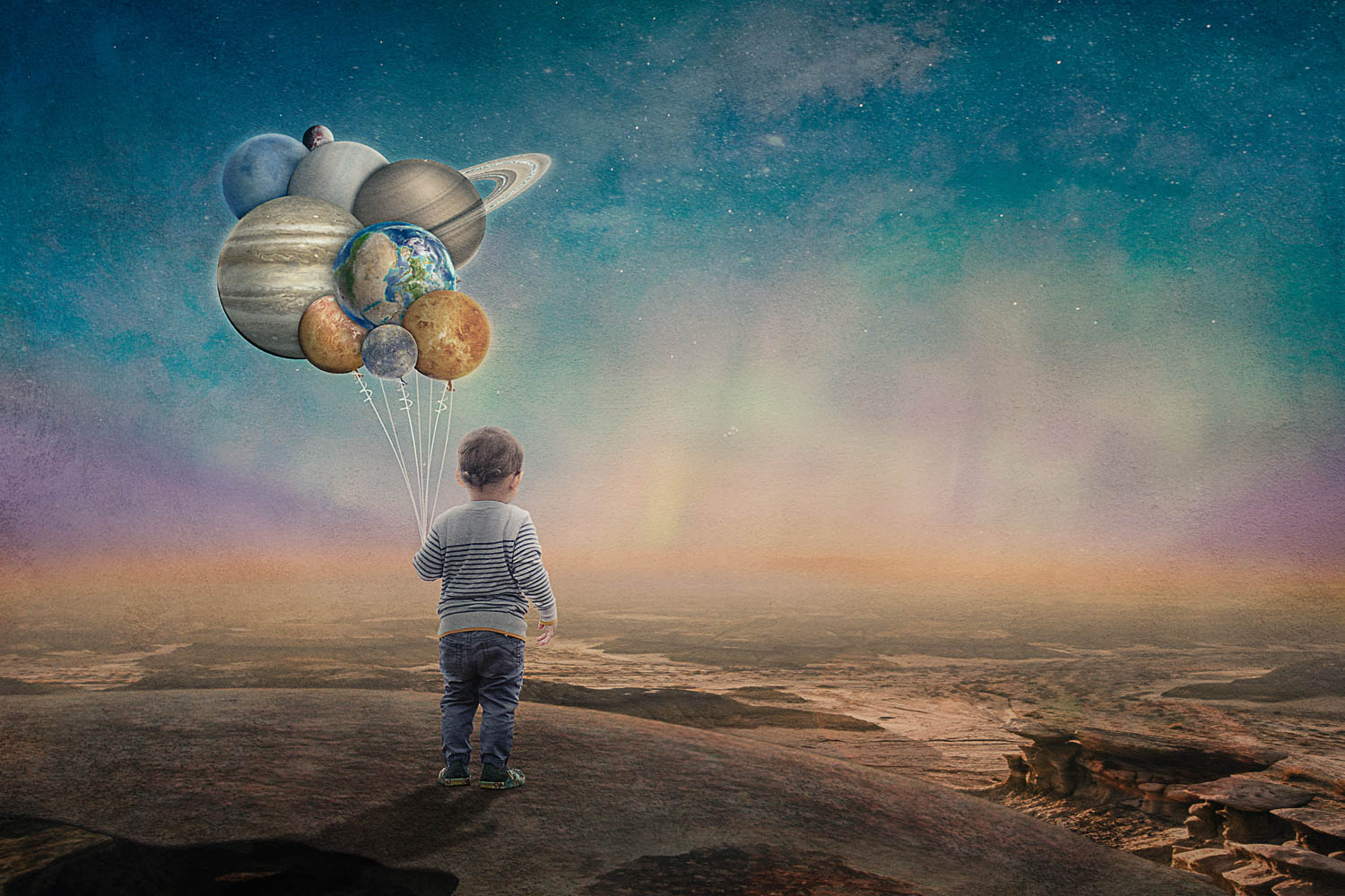 little boy at the edge of the world watching the sun rise and holding planet balloons storybook composite