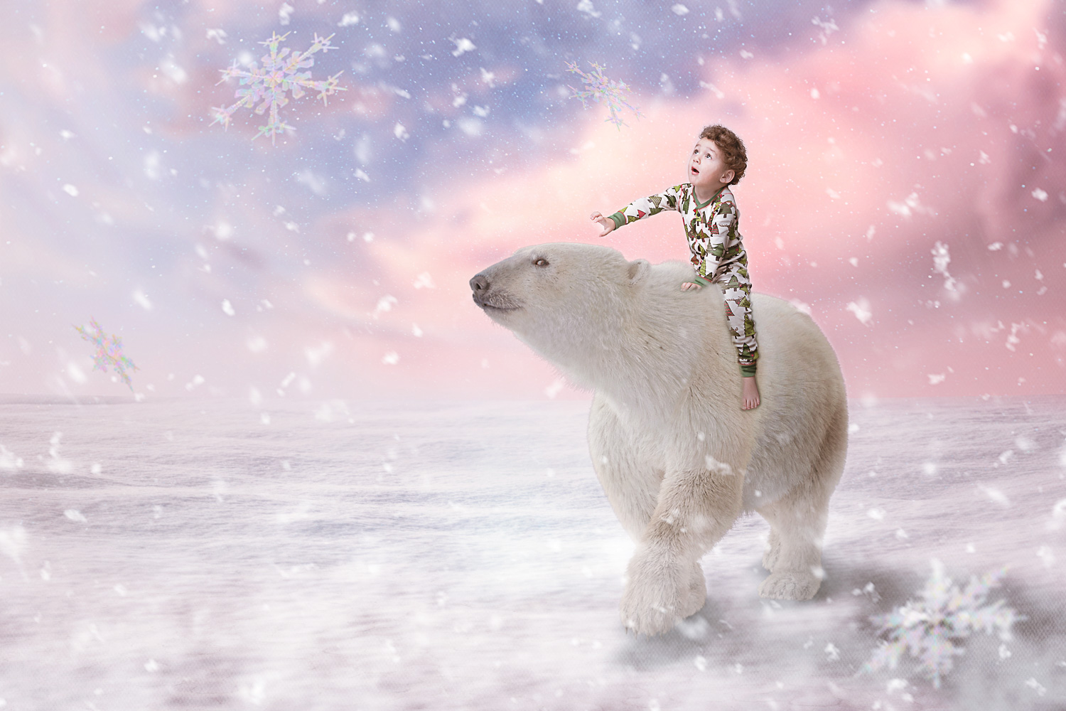 little boy on polar bear watching the snow fall storybook composite