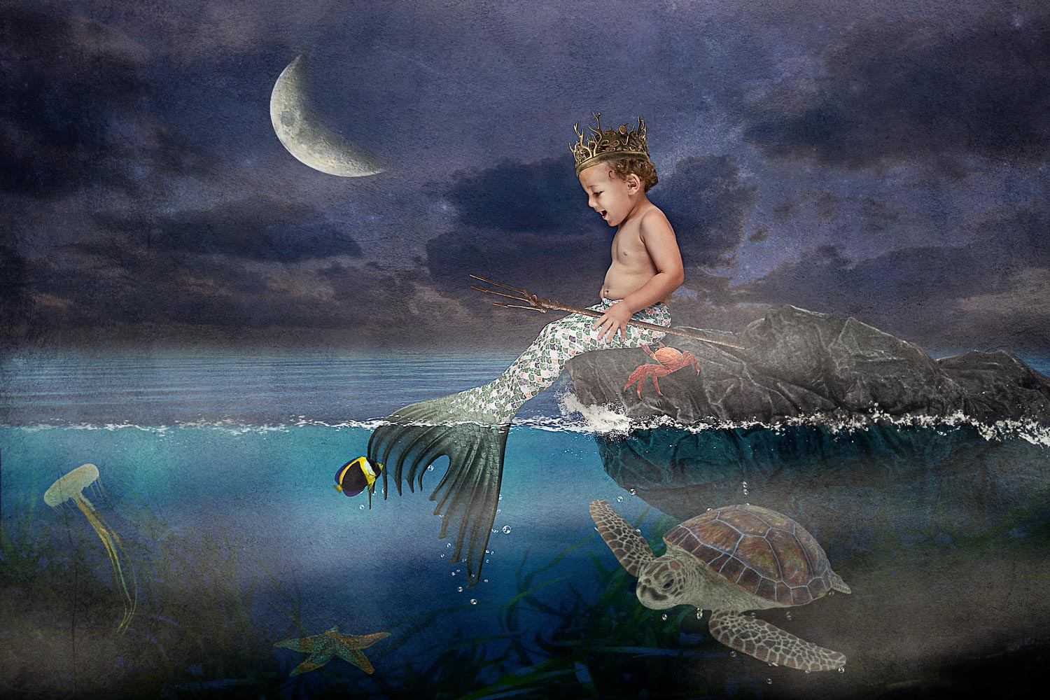little boy as merman poseidon with his ocean friends storybook composite