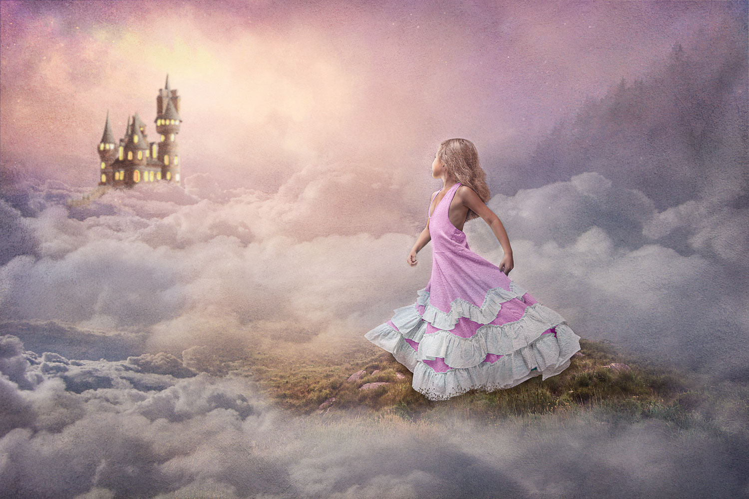 little girl princess and her castle above the clouds storybook composite