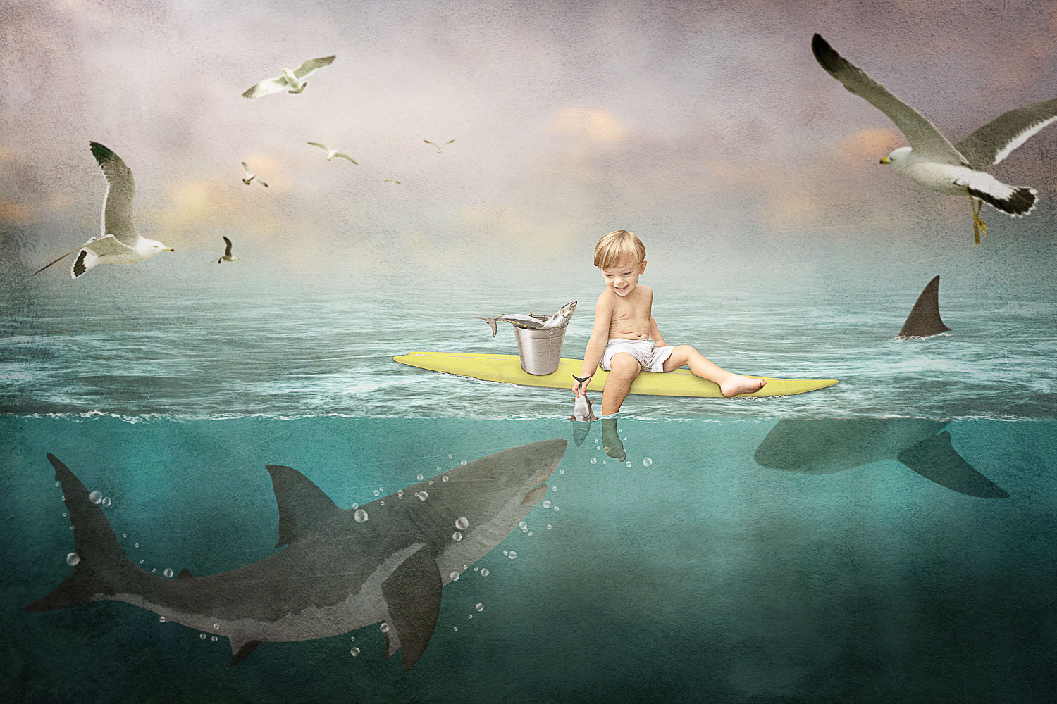 little boy feeding sharks on his surf board storybook composite