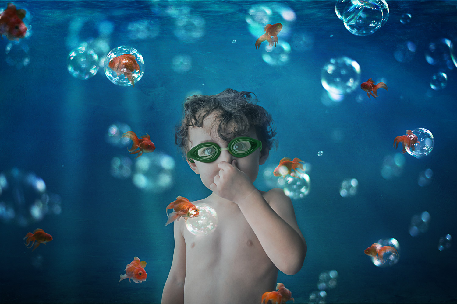little boy underwater with goldfish