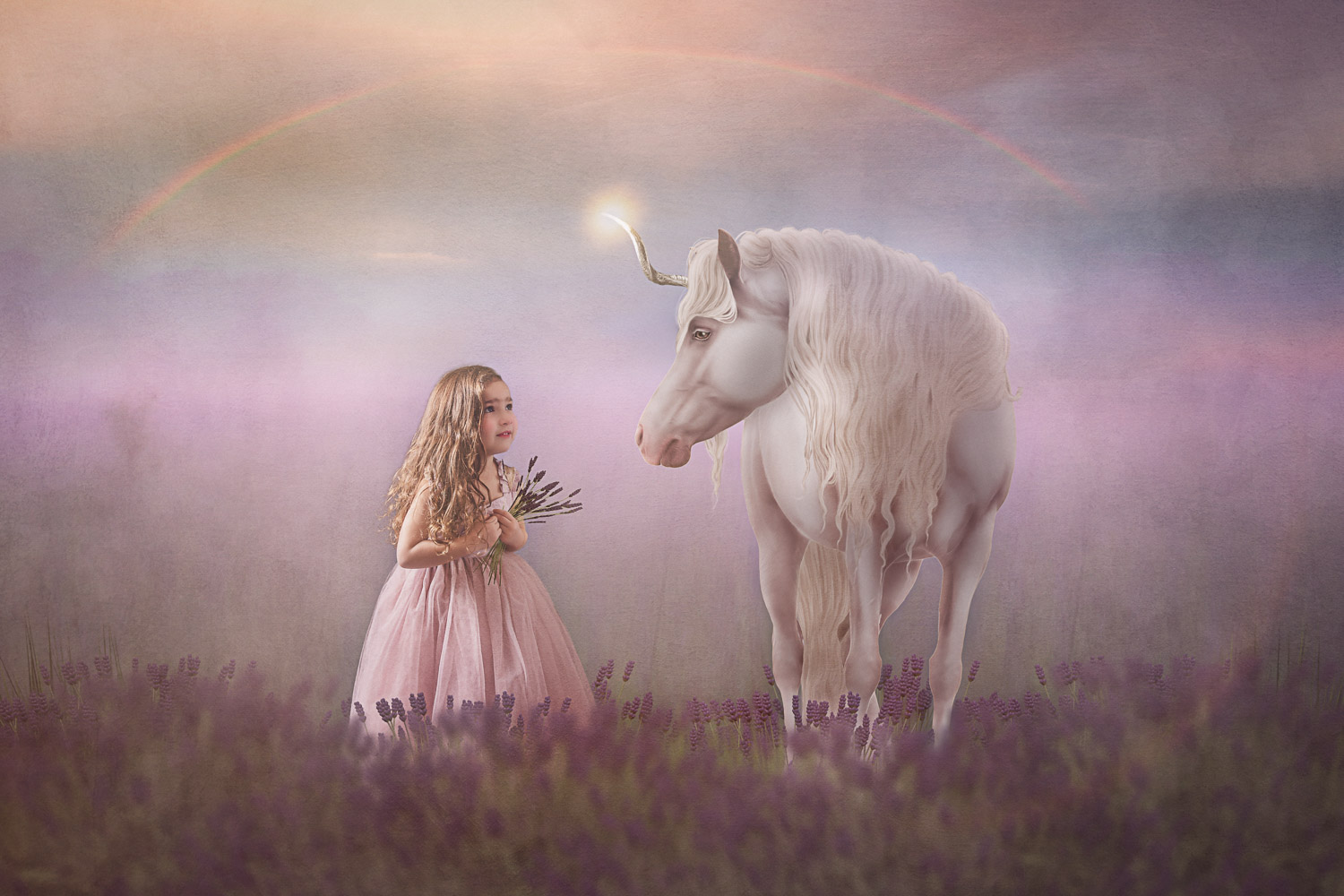 little girl in a lavender field and her unicorn storybook composite