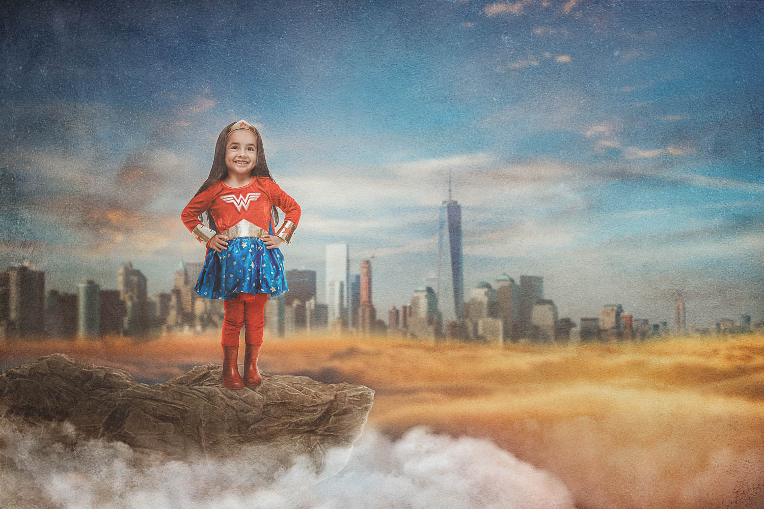 little girl wonder woman above NYC storybook composite