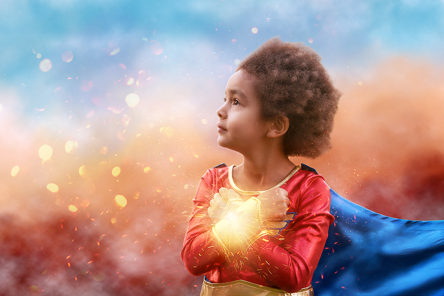 little girl as wonder woman closeup storybook composite