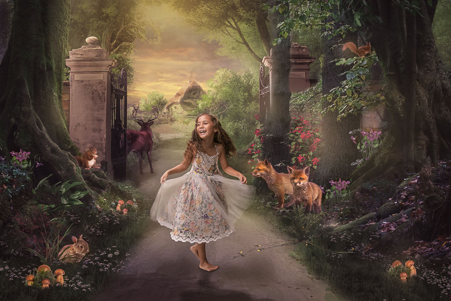 little girl in the woods storybook composite