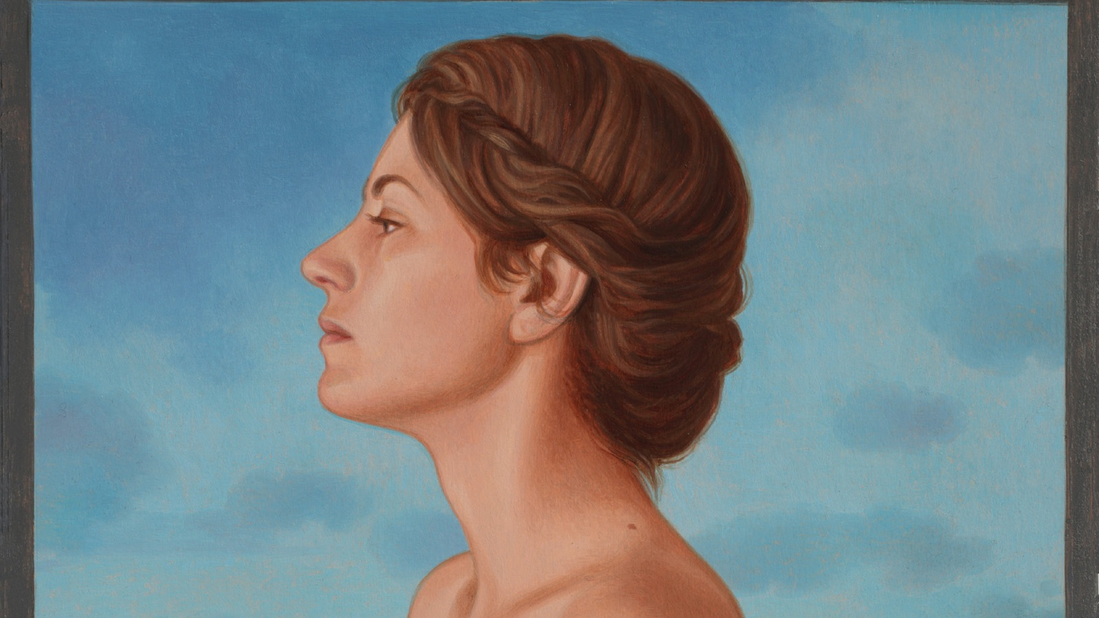 The Sculptor's Model, oil painting on board 2015 , Oil Painting Portrait of a Sculptor's Model, with Italian Landscape in the background. Gessoed coated Fabriano paper mounted on a panel cm. 18 x 18.
