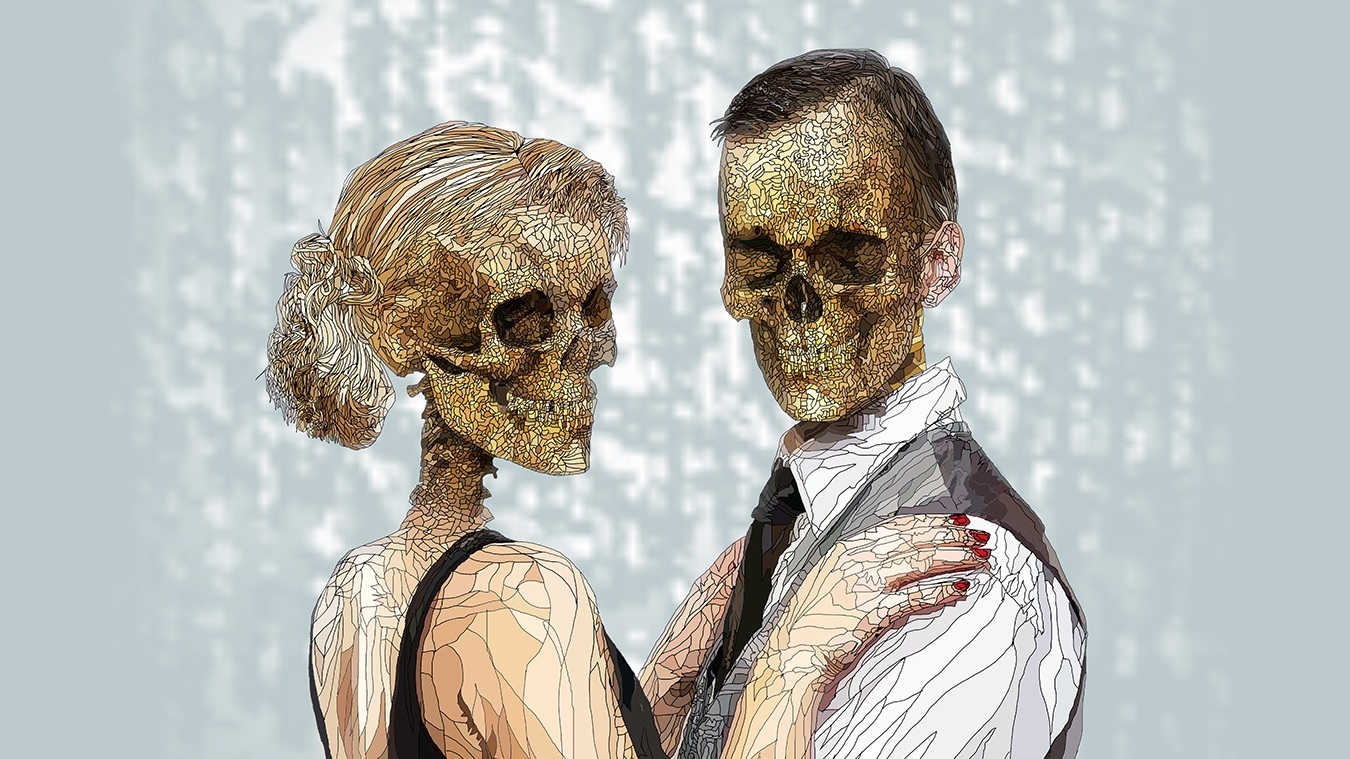 The Danse Macabre | UV limited edition print on aluminium | 1 of 3 edition , Created using a digital pen and tablet, 80 × 60 × 0.3 cm