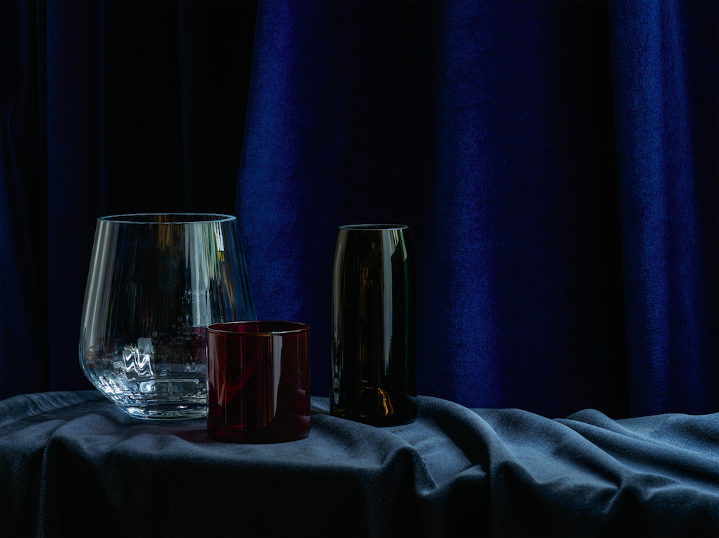 Image credit: Heal's Medium Vase, Aria Recycled Vase and Wine Glass. Velvet and linen, Pierre Frey. Photography: Alexander Edwards.